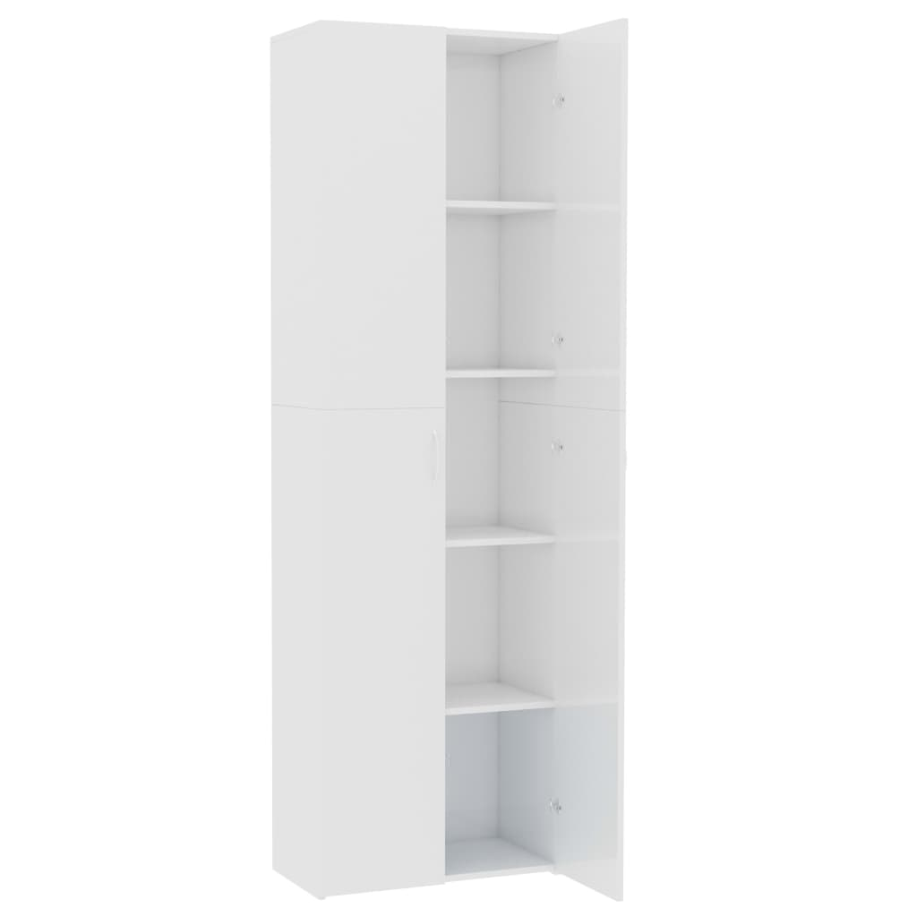 Office Cabinet High Gloss White 60x32x190 cm Chipboard 5