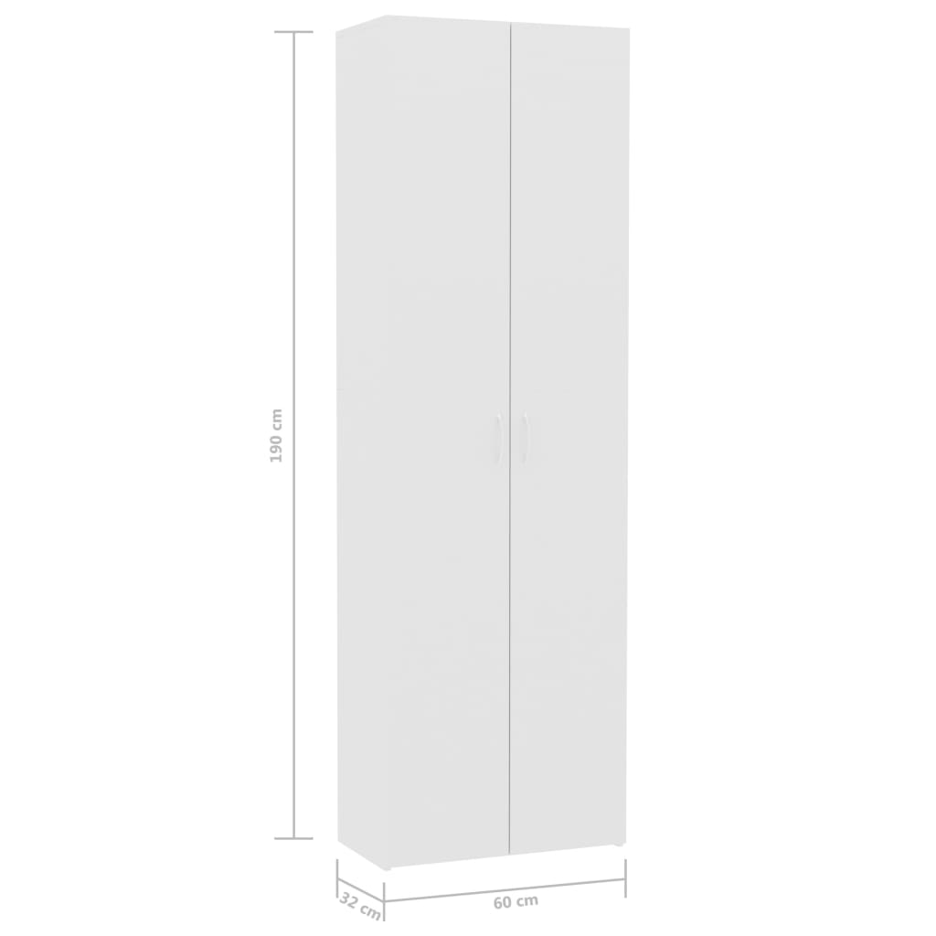 Office Cabinet High Gloss White 60x32x190 cm Chipboard 8