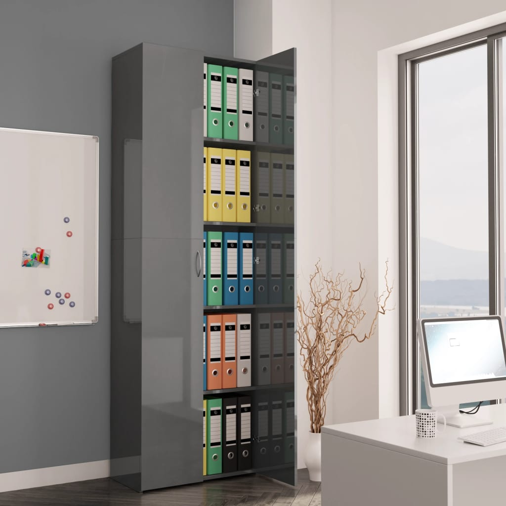 Office Cabinet High Gloss Grey 60x32x190 cm Chipboard 1