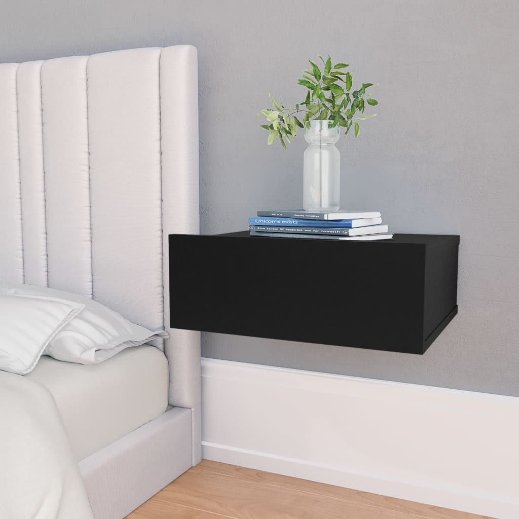Floating Nightstand Black 40x30x15 cm Chipboard 1