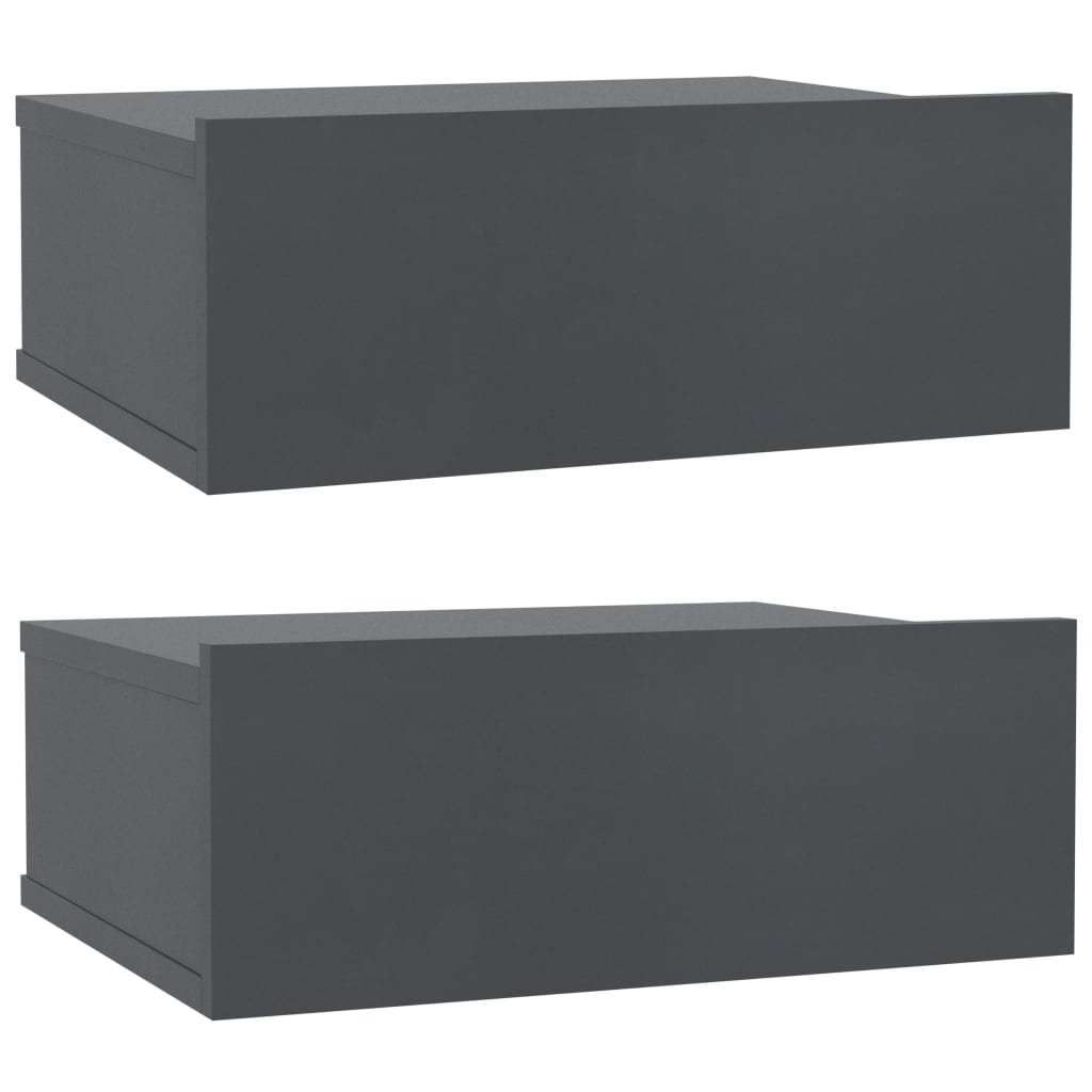 Floating Nightstands 2 pcs Grey 40x30x15 cm Chipboard 2