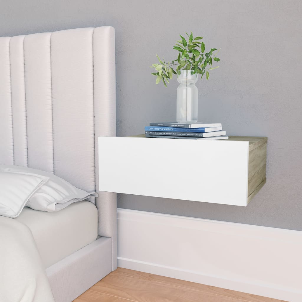 Floating Nightstand White and Sonoma Oak 40x30x15 cm Chipboard