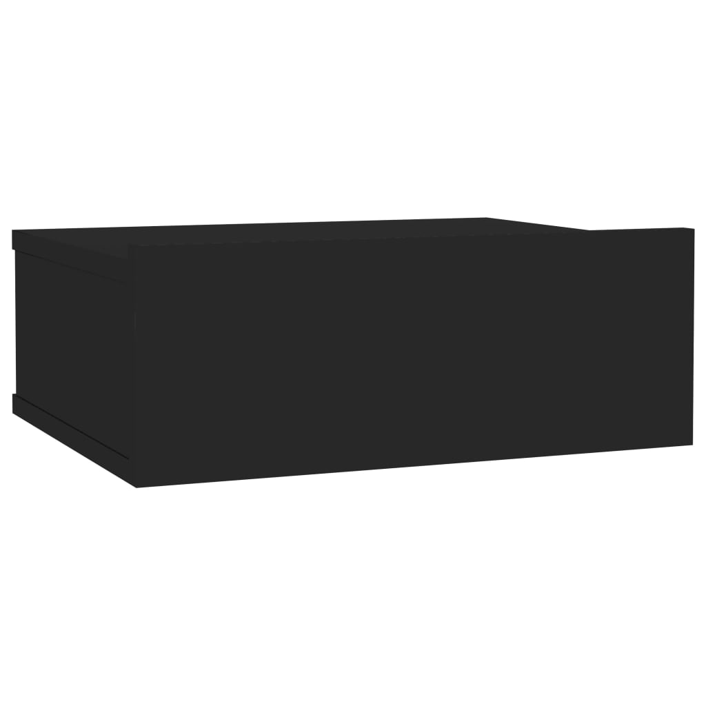 Floating Nightstand High Gloss Black 40x30x15 cm Chipboard 2