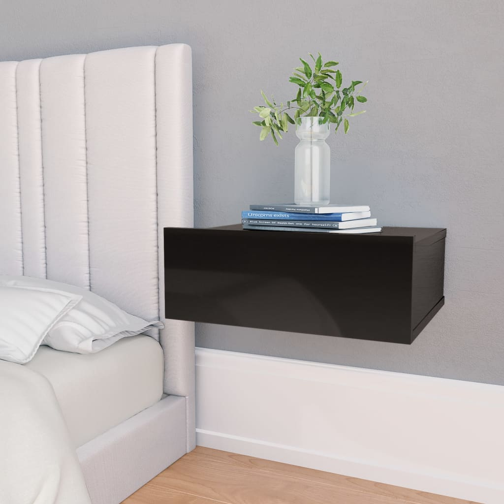 Floating Nightstand High Gloss Black 40x30x15 cm Chipboard 1