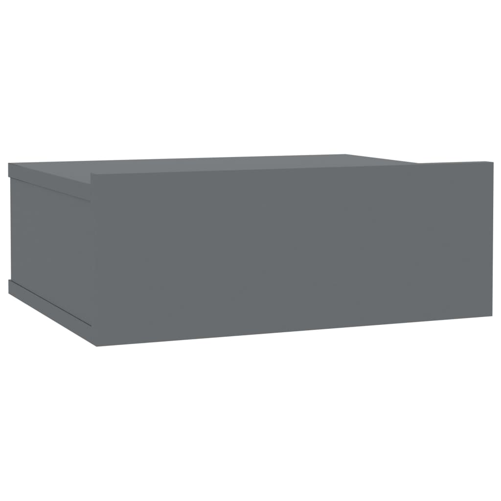 Floating Nightstand High Gloss Grey 40x30x15 cm Chipboard 2