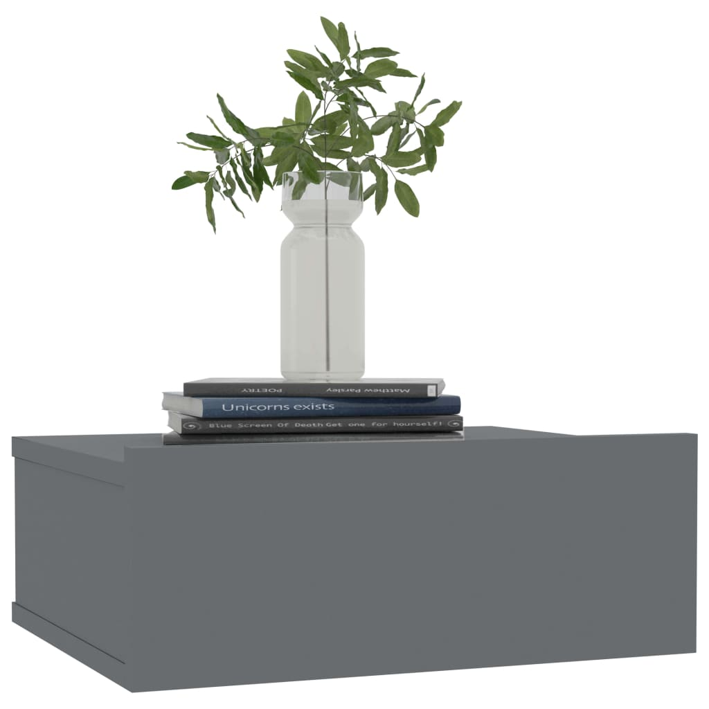Floating Nightstand High Gloss Grey 40x30x15 cm Chipboard 3