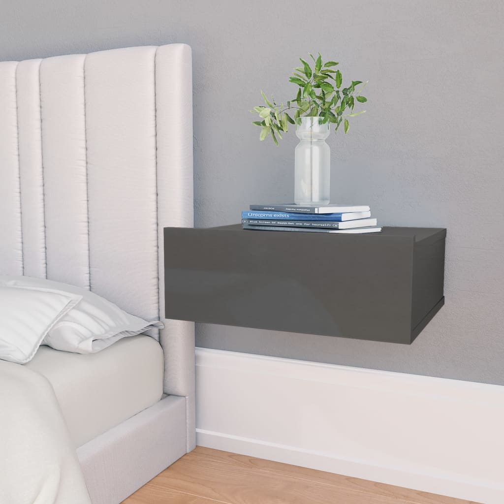 Floating Nightstand High Gloss Grey 40x30x15 cm Chipboard 1