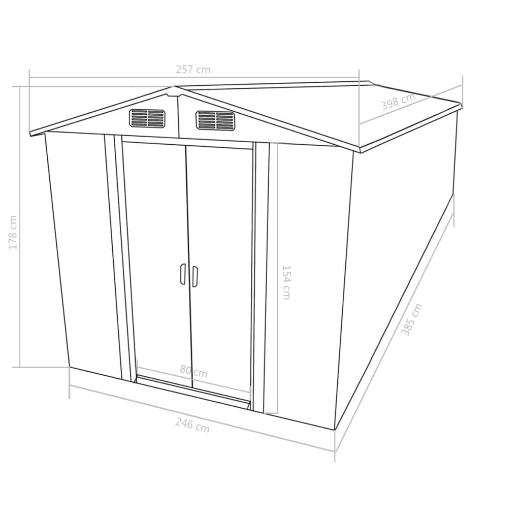 Garden Shed 257x398x178 cm Metal Anthracite 9