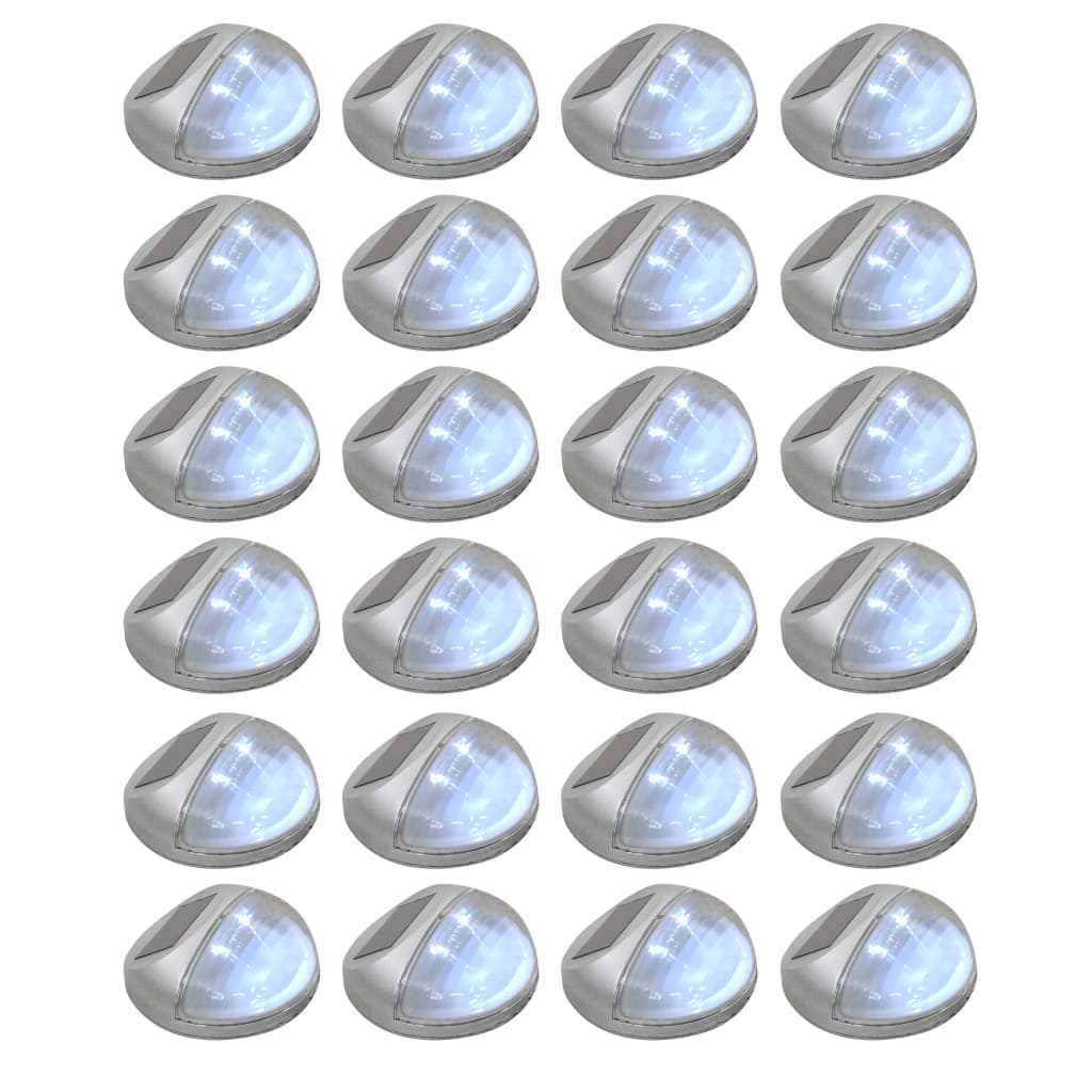 Outdoor Solar Wall Lamps LED 24 pcs Round Silver 1