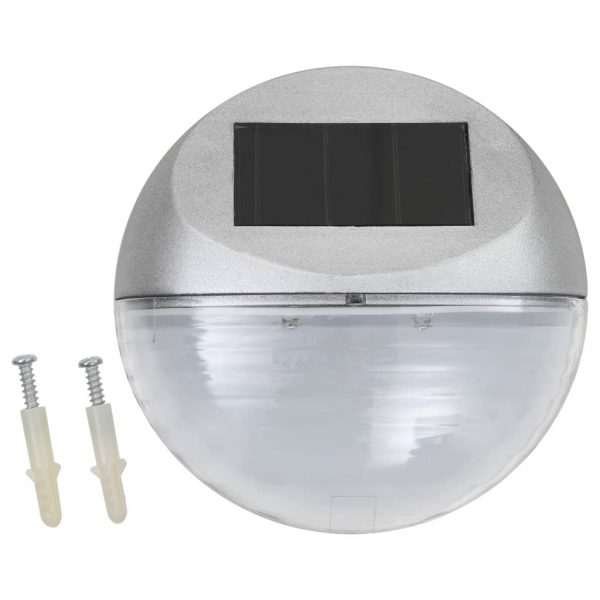 Outdoor Solar Wall Lamps LED 24 pcs Round Silver 2