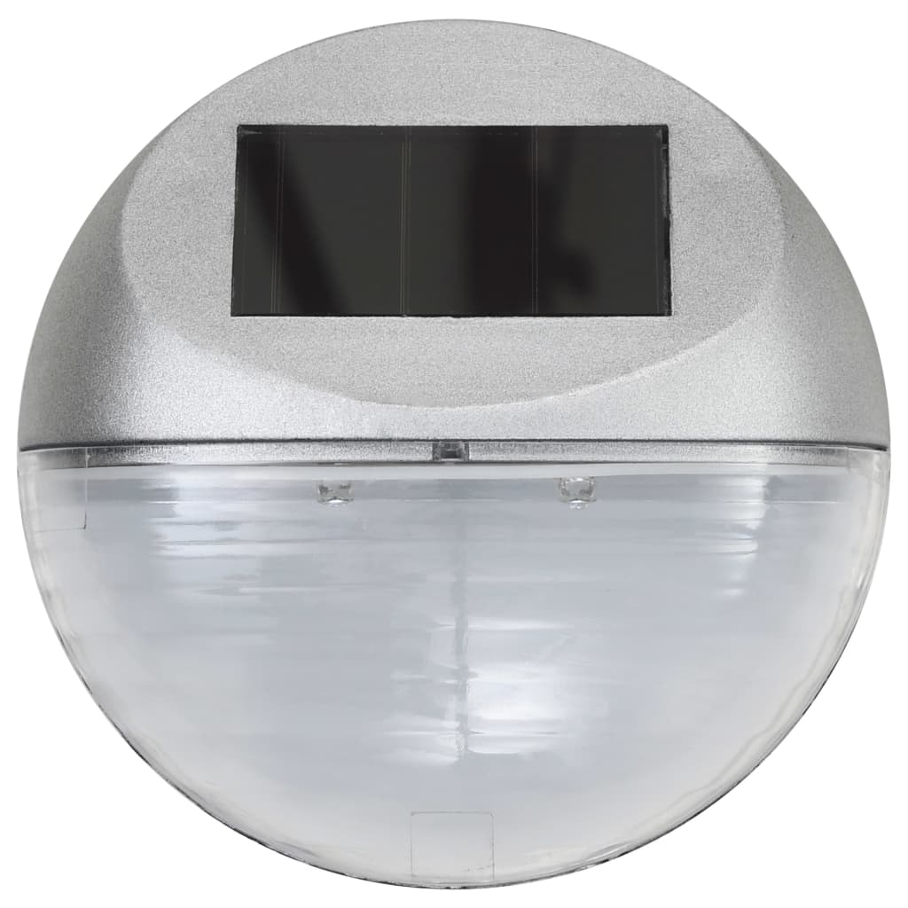 Outdoor Solar Wall Lamps LED 24 pcs Round Silver 4