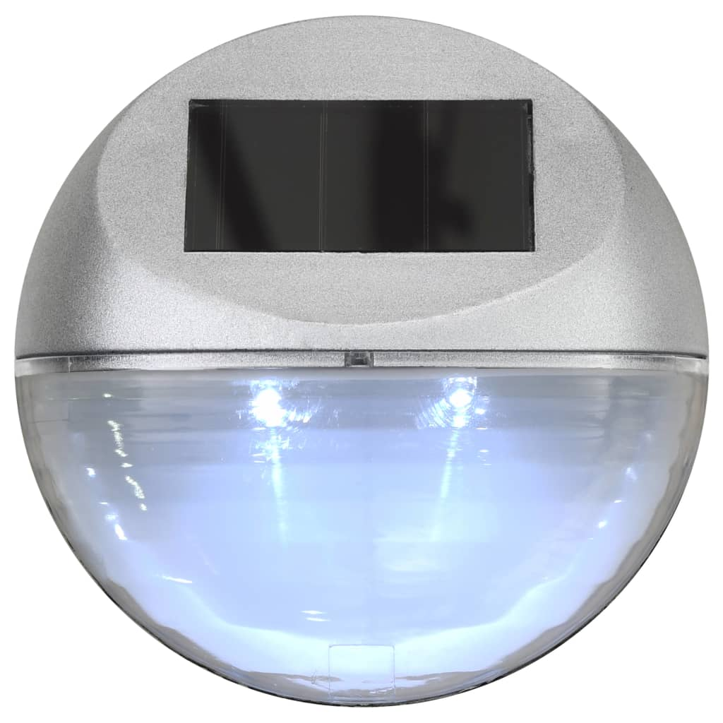 Outdoor Solar Wall Lamps LED 24 pcs Round Silver 6