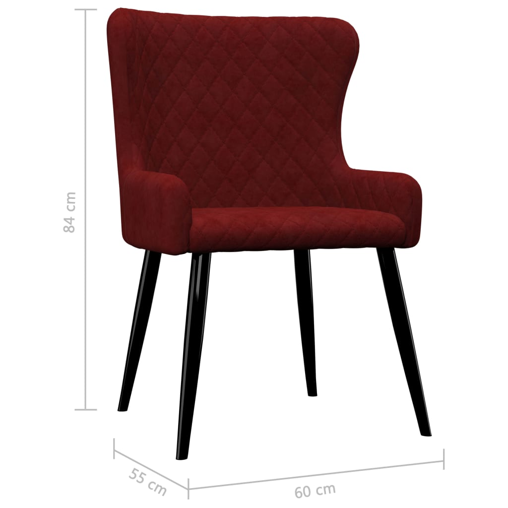 Dining Chairs 2 pcs Red Velvet 7