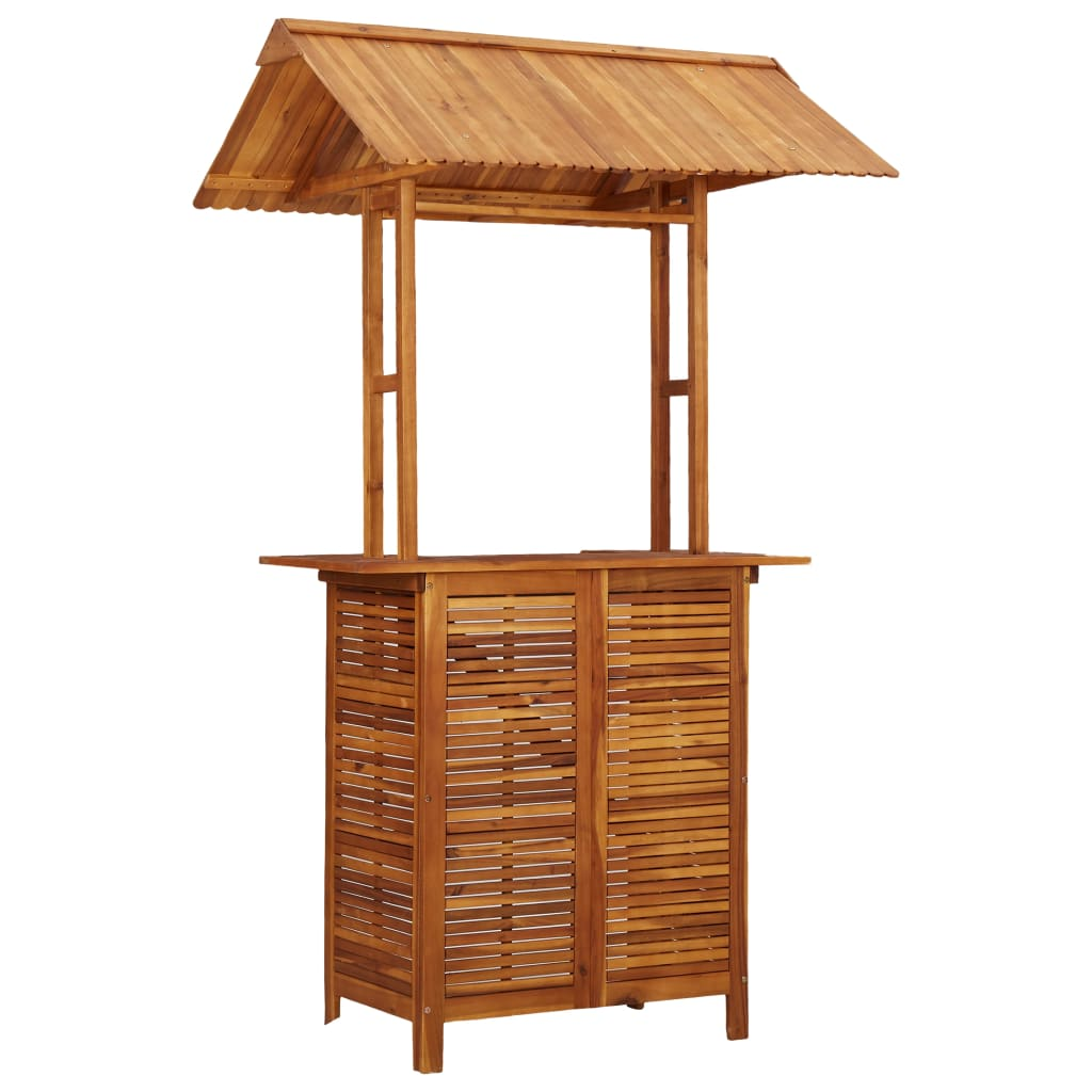 Outdoor Bar Table with Rooftop 122x106x217 cm Solid Acacia Wood 2