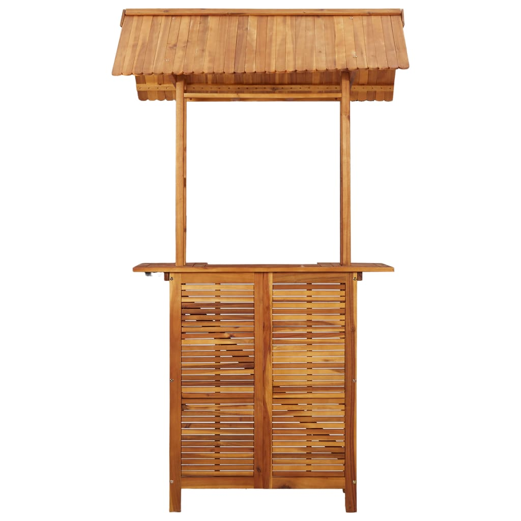 Outdoor Bar Table with Rooftop 122x106x217 cm Solid Acacia Wood 3