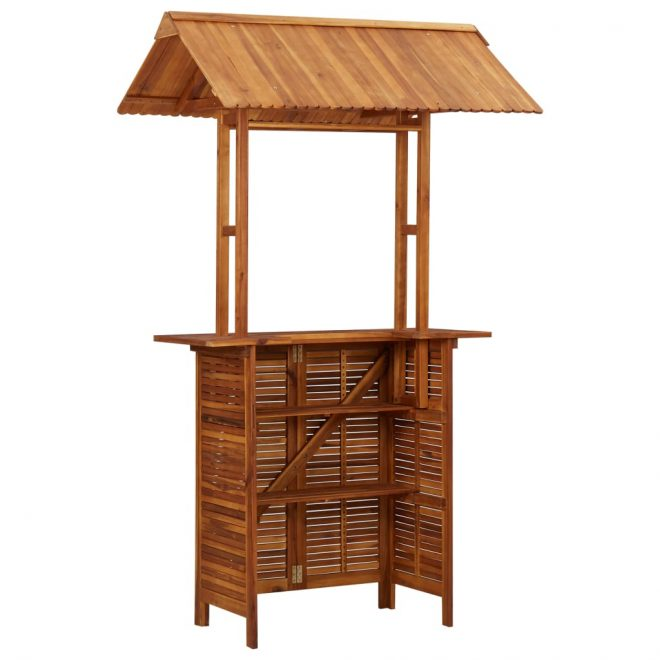 Outdoor Bar Table with Rooftop 122x106x217 cm Solid Acacia Wood 6