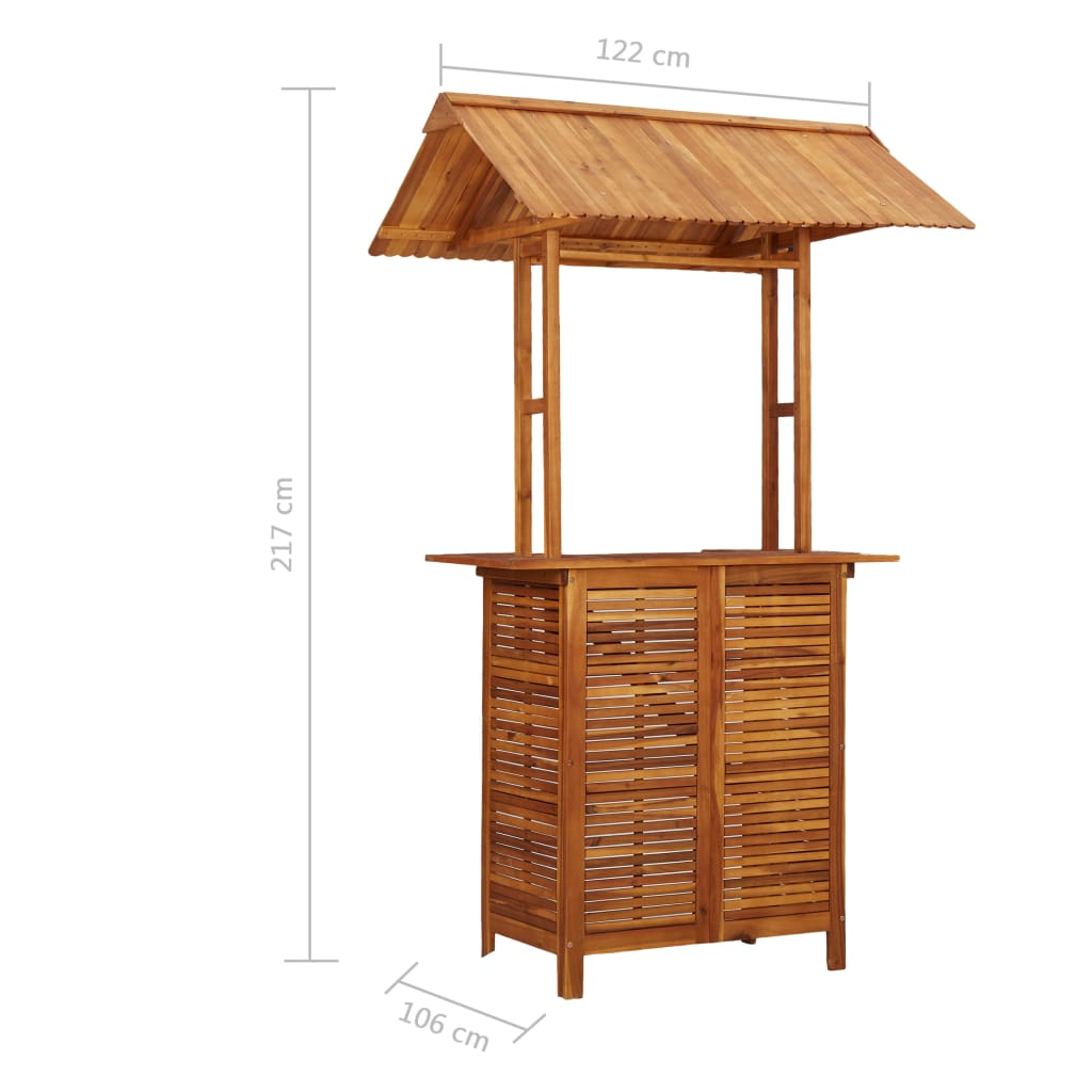 Outdoor Bar Table with Rooftop 122x106x217 cm Solid Acacia Wood 10
