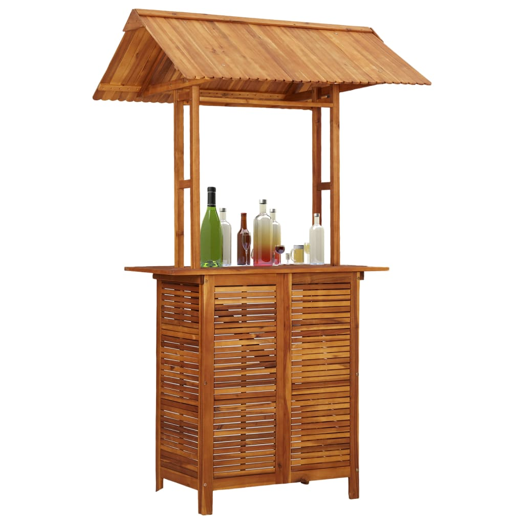 Outdoor Bar Table with Rooftop 122x106x217 cm Solid Acacia Wood 1