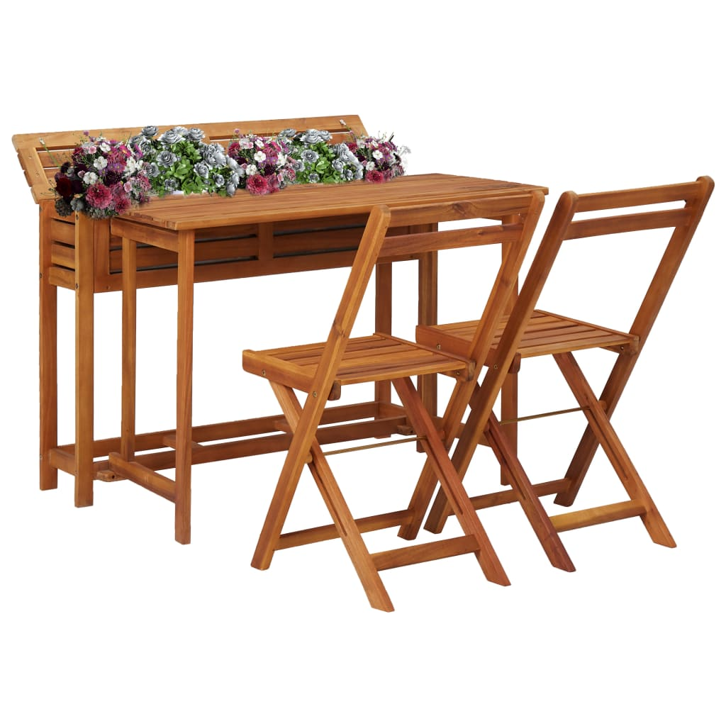 Balcony Planter Table with 2 Bistro Chairs Solid Acacia Wood