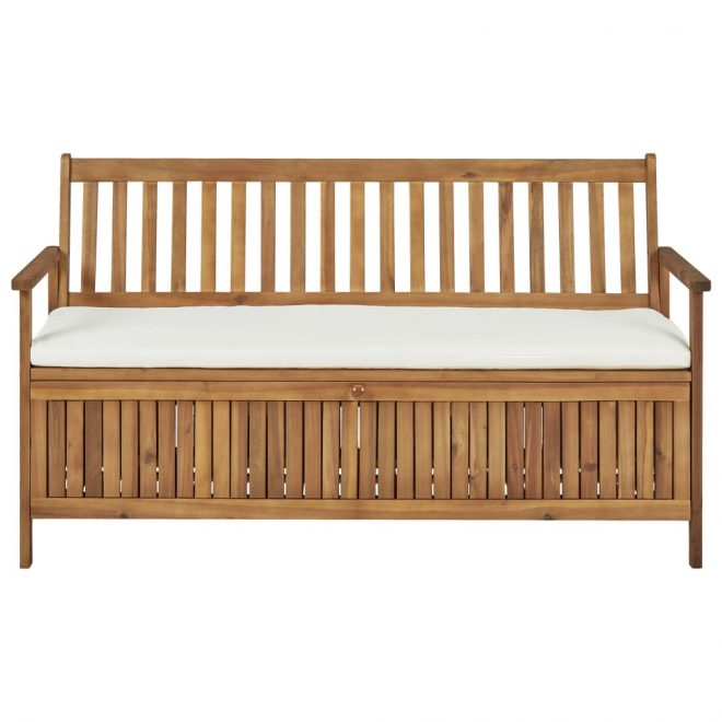 Storage Bench with Cushion 148 cm Solid Acacia Wood 2