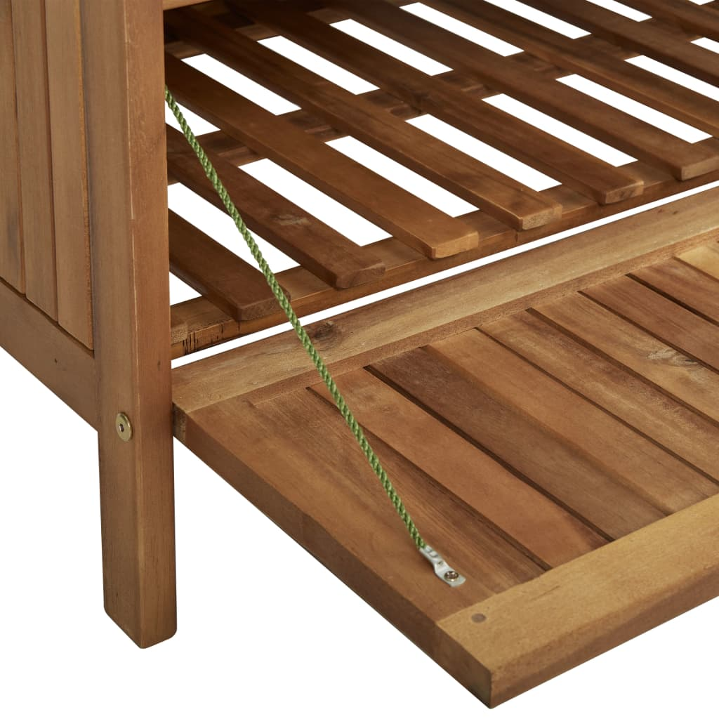 Storage Bench with Cushion 148 cm Solid Acacia Wood 11
