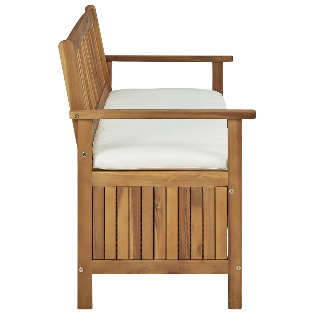 Storage Bench with Cushion 148 cm Solid Acacia Wood 3