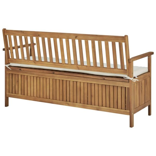 Storage Bench with Cushion 148 cm Solid Acacia Wood 4