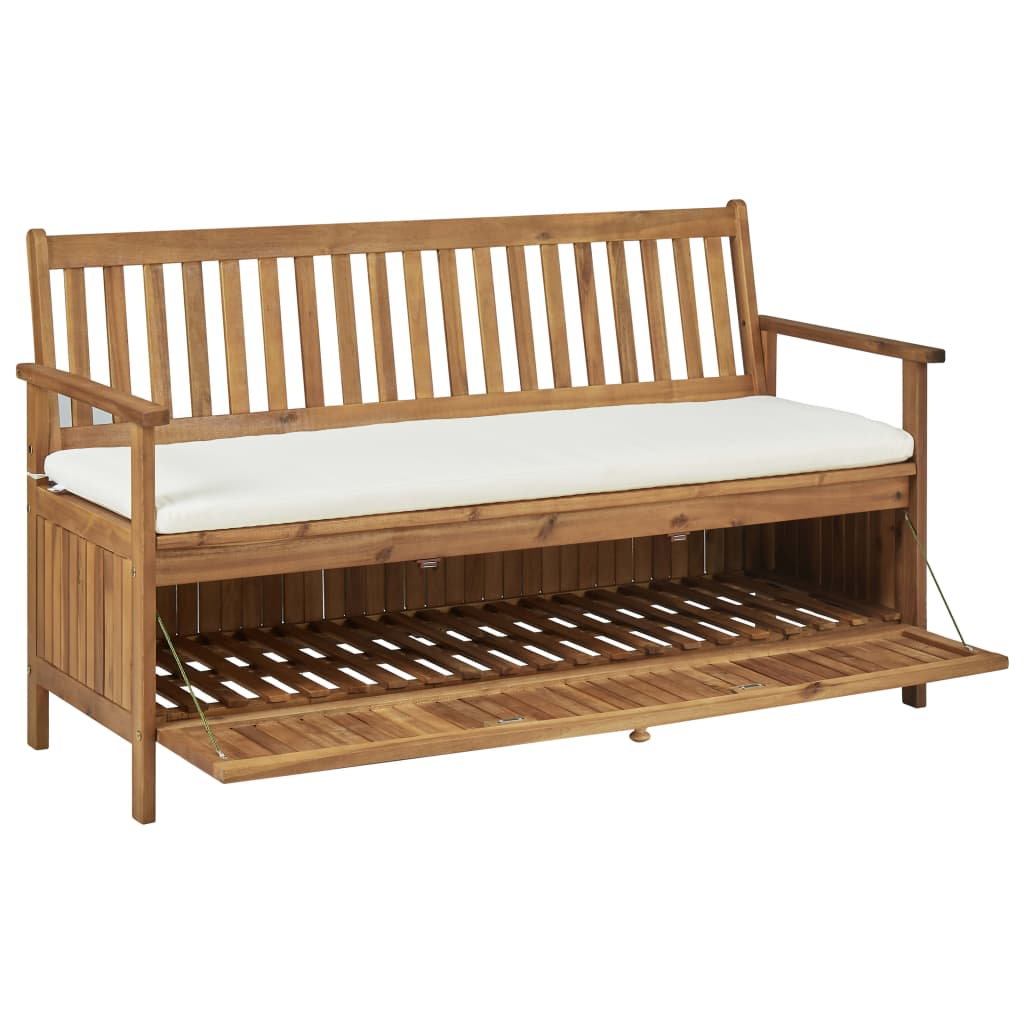Storage Bench with Cushion 148 cm Solid Acacia Wood 5
