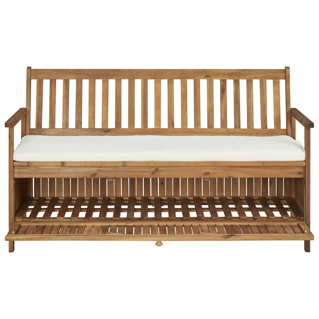 Storage Bench with Cushion 148 cm Solid Acacia Wood 6