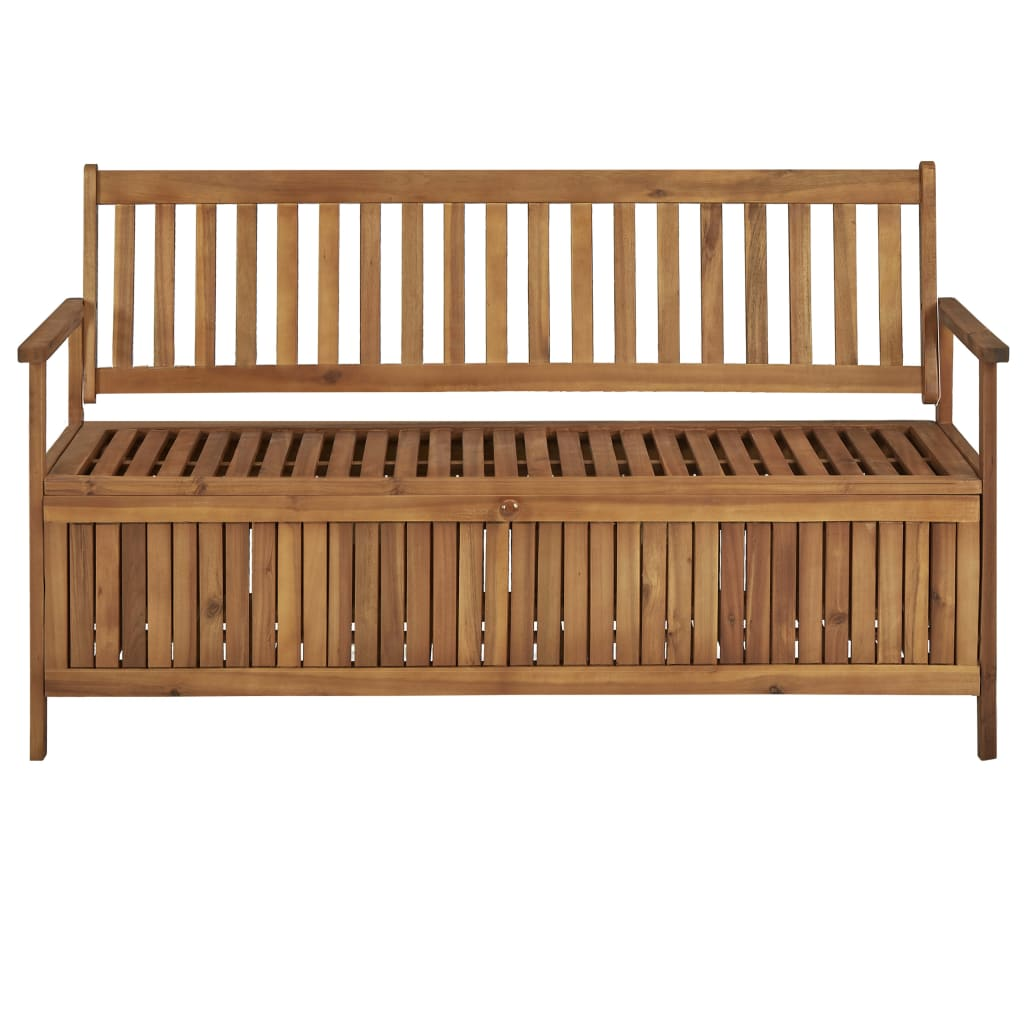 Storage Bench with Cushion 148 cm Solid Acacia Wood 8