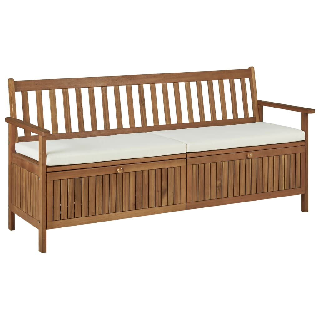 Storage Bench with Cushion 170 cm Solid Acacia Wood 1