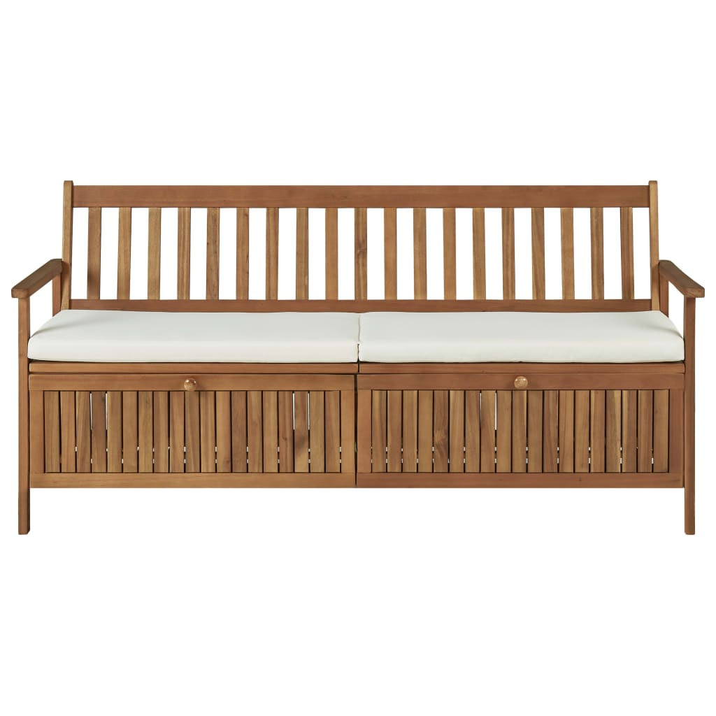 Storage Bench with Cushion 170 cm Solid Acacia Wood 2