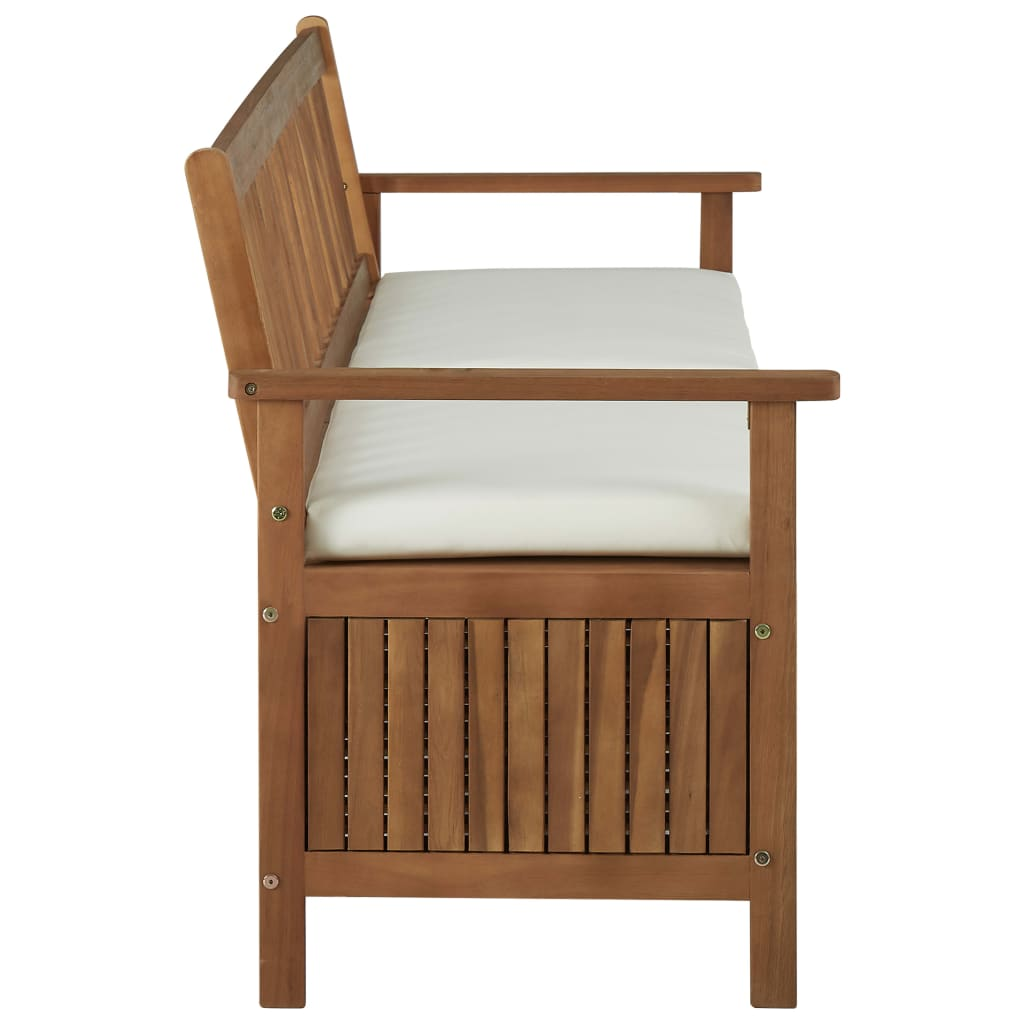 Storage Bench with Cushion 170 cm Solid Acacia Wood 3