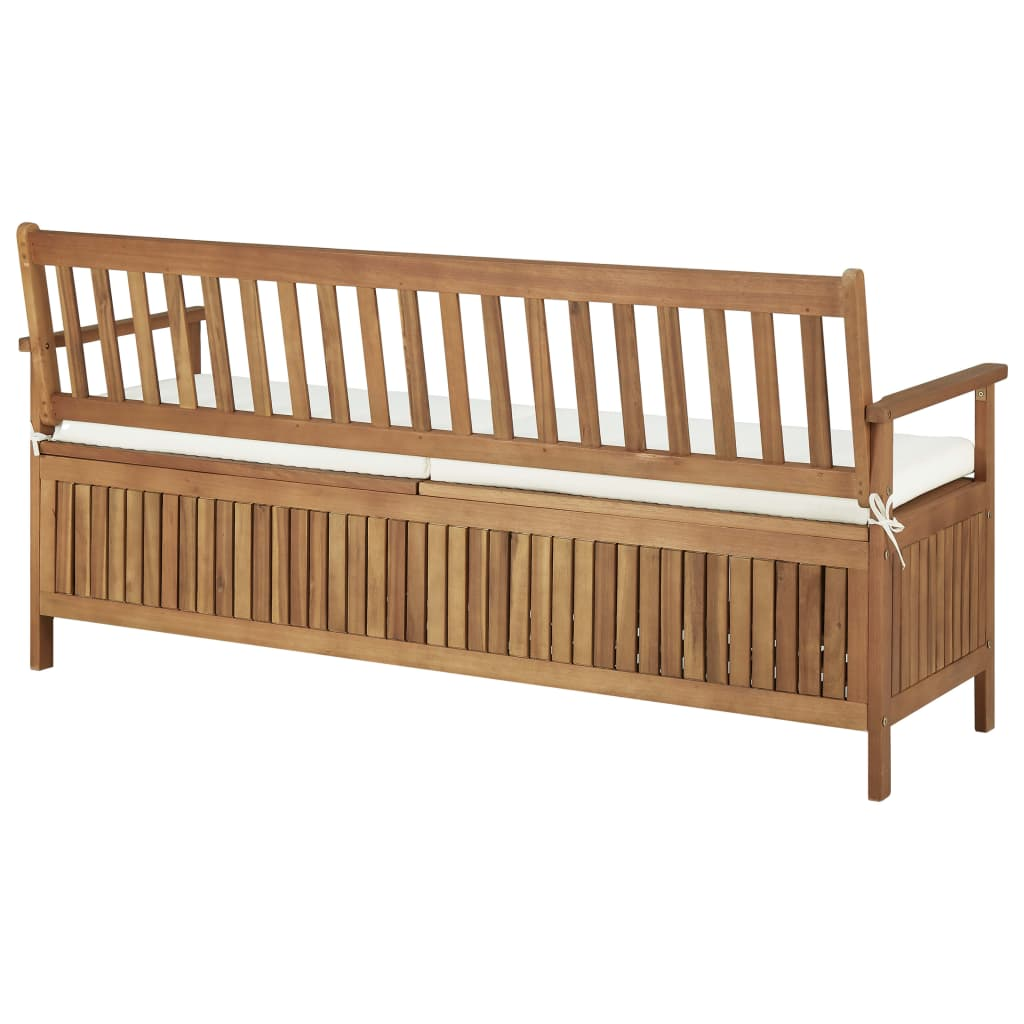 Storage Bench with Cushion 170 cm Solid Acacia Wood 4
