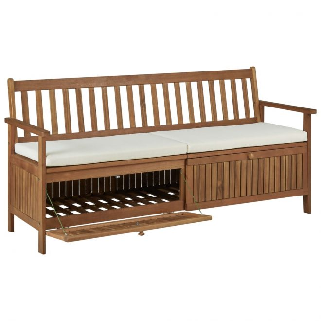 Storage Bench with Cushion 170 cm Solid Acacia Wood 5