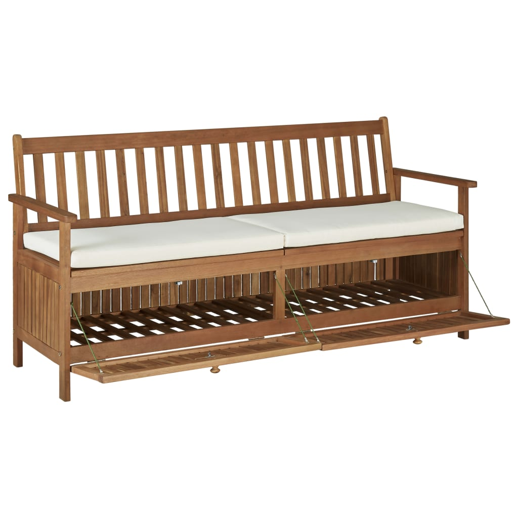 Storage Bench with Cushion 170 cm Solid Acacia Wood 6