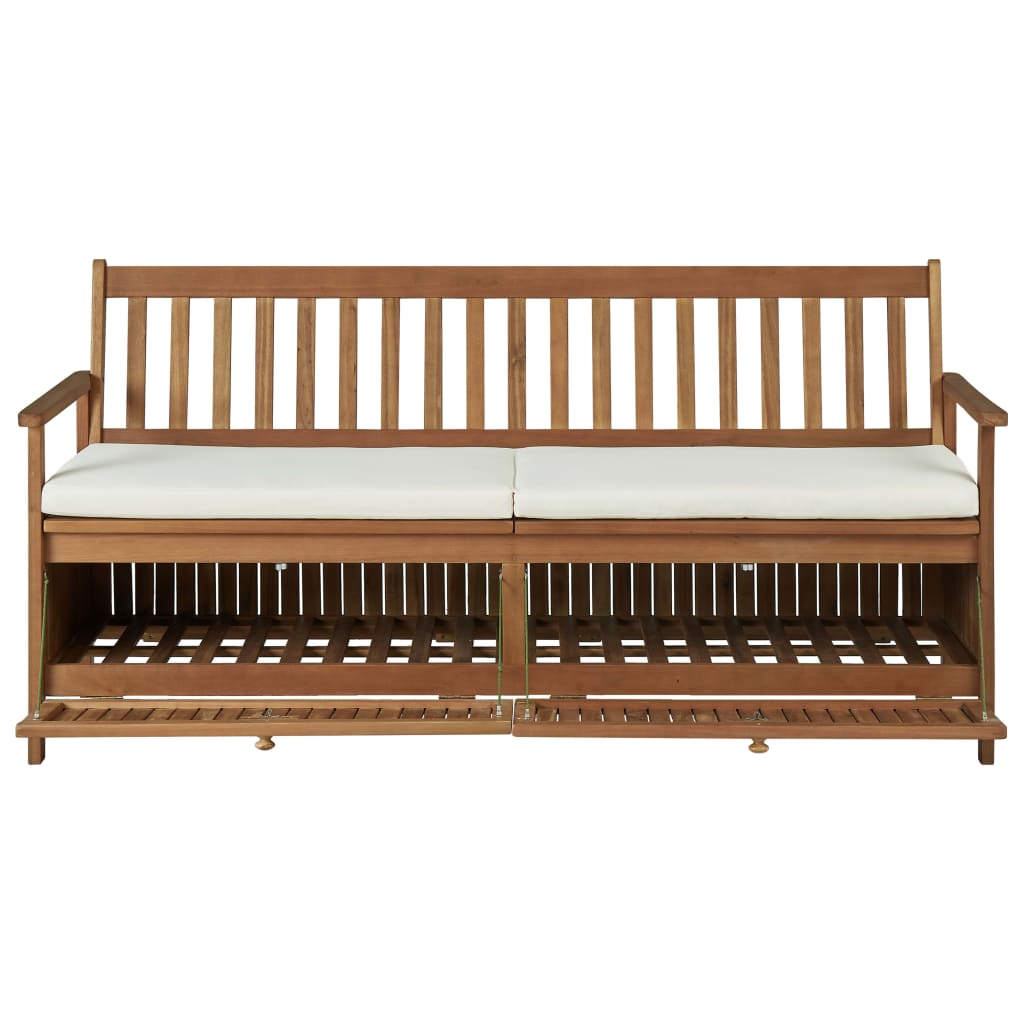 Storage Bench with Cushion 170 cm Solid Acacia Wood 7