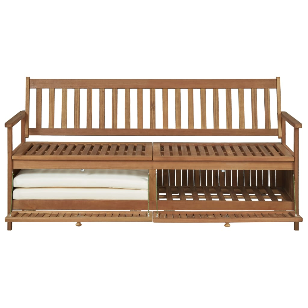 Storage Bench with Cushion 170 cm Solid Acacia Wood 8