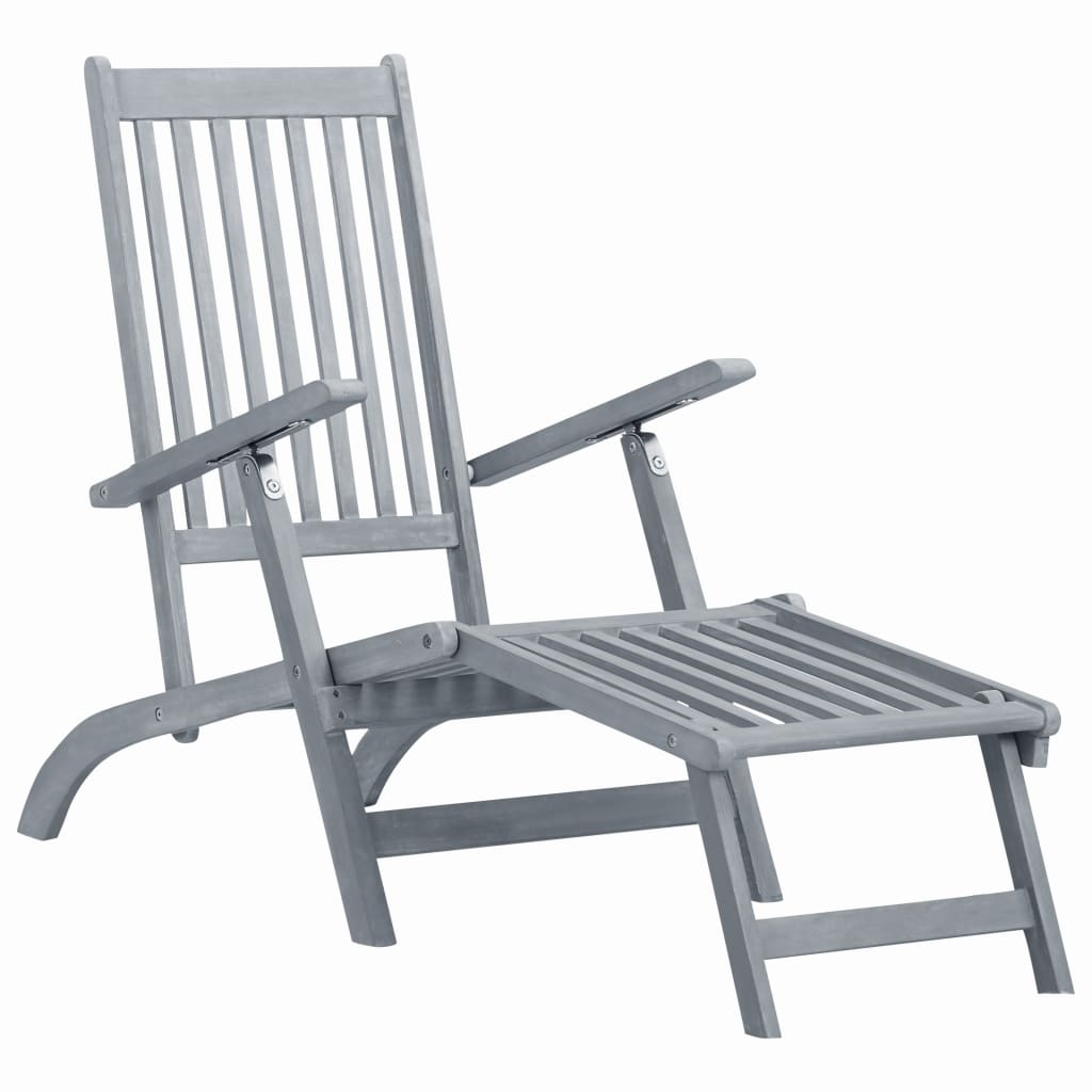 Outdoor Deck Chair with Footrest Grey Wash Solid Acacia Wood 1
