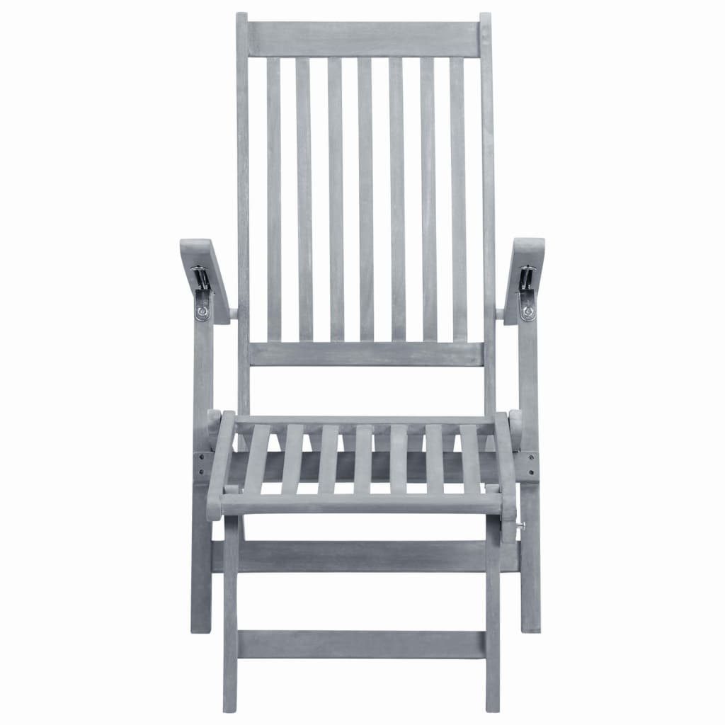 Outdoor Deck Chair with Footrest Grey Wash Solid Acacia Wood 2