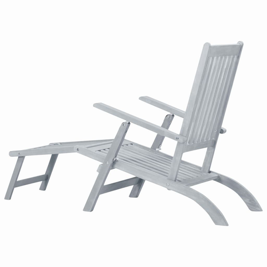 Outdoor Deck Chair with Footrest Grey Wash Solid Acacia Wood 4
