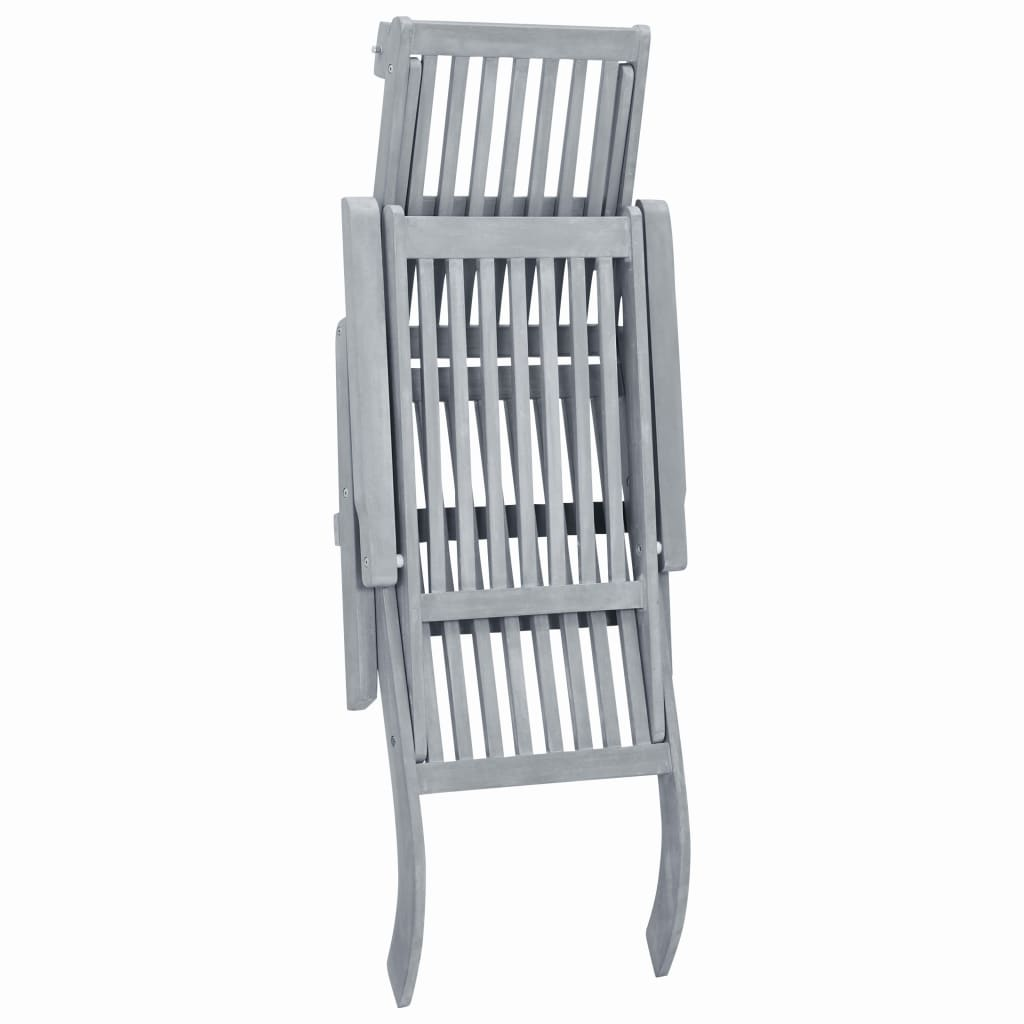 Outdoor Deck Chair with Footrest Grey Wash Solid Acacia Wood 5