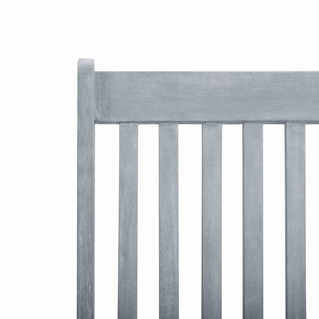 Outdoor Deck Chair with Footrest Grey Wash Solid Acacia Wood 7