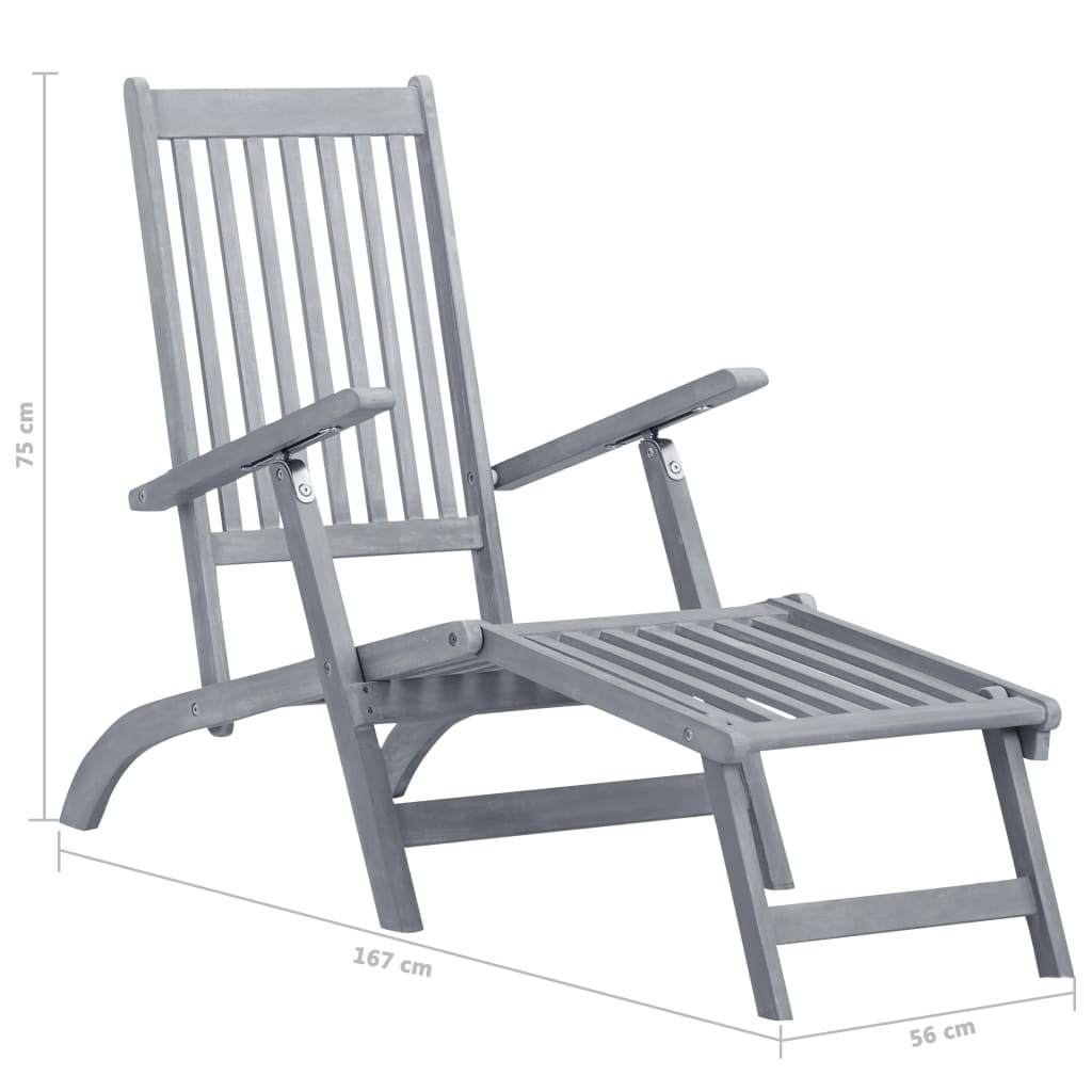Outdoor Deck Chair with Footrest Grey Wash Solid Acacia Wood 8