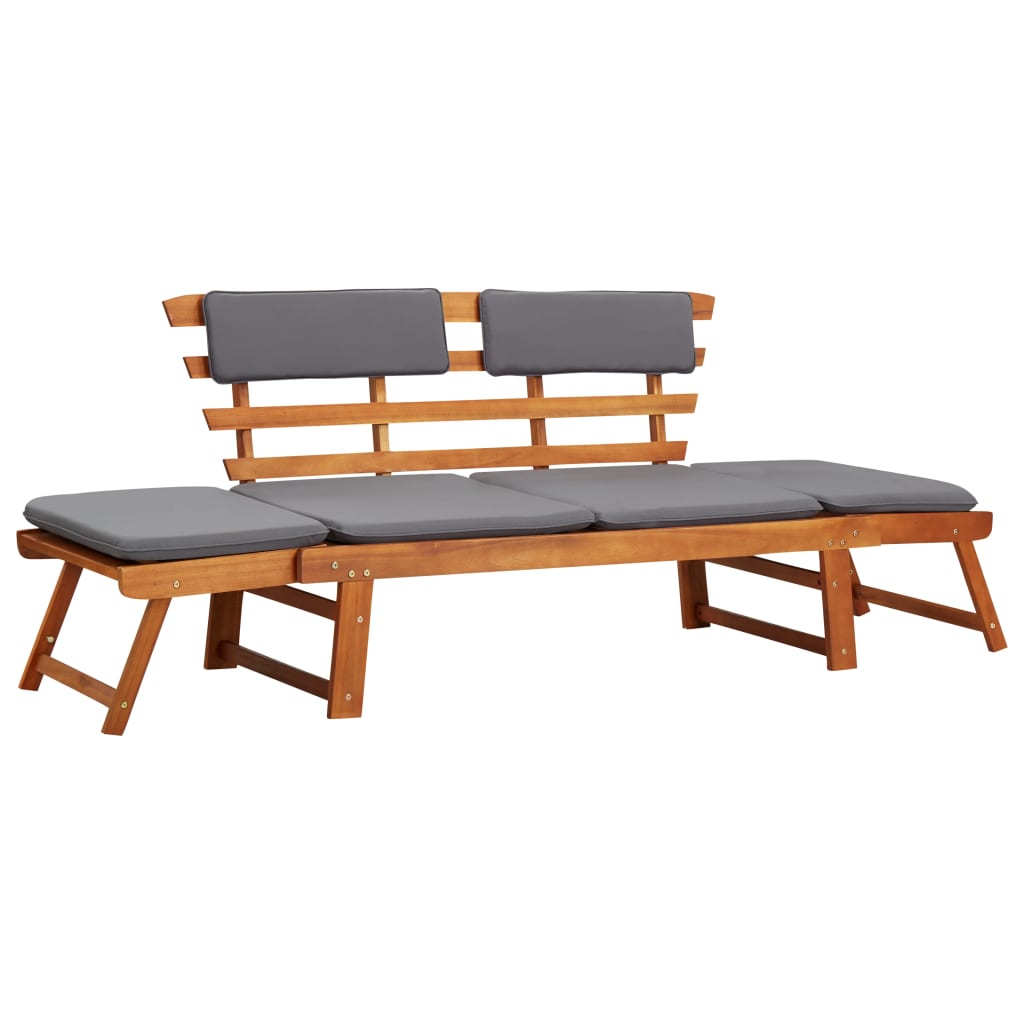 2-in-1 Garden Daybed with Cushion 190 cm Solid Acacia Wood