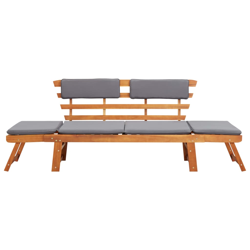 2-in-1 Garden Daybed with Cushion 190 cm Solid Acacia Wood 2