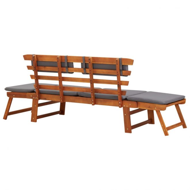 2-in-1 Garden Daybed with Cushion 190 cm Solid Acacia Wood 4