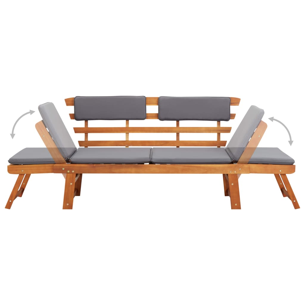 2-in-1 Garden Daybed with Cushion 190 cm Solid Acacia Wood 6