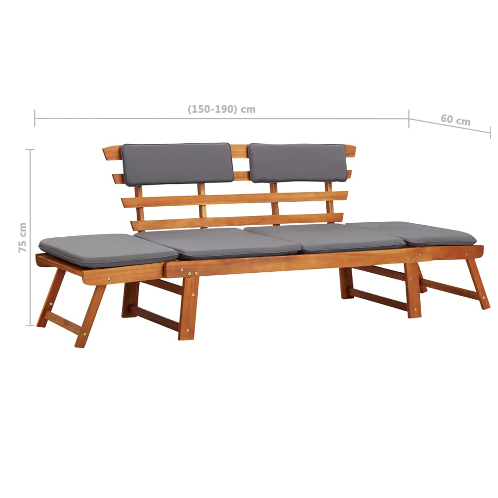 2-in-1 Garden Daybed with Cushion 190 cm Solid Acacia Wood 9