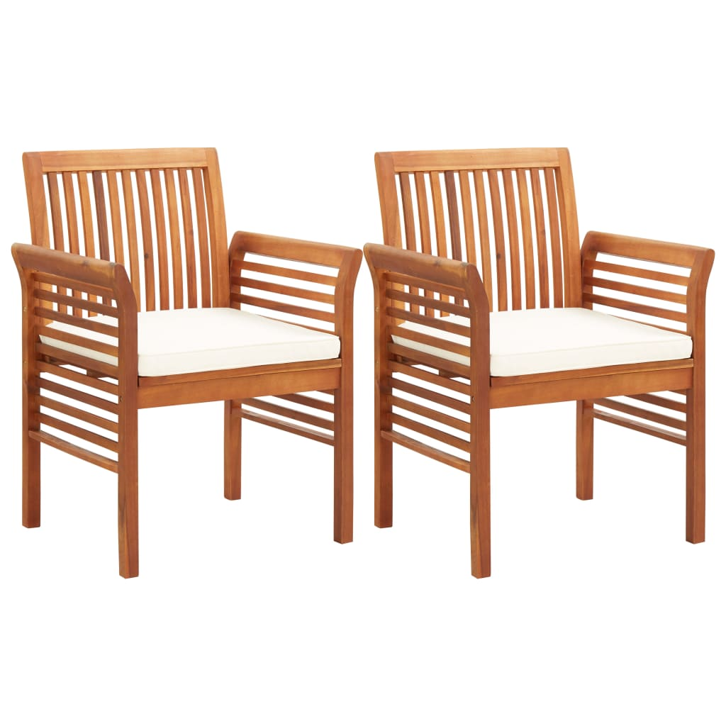 Garden Dining Chairs with Cushions 2 pcs Solid Acacia Wood